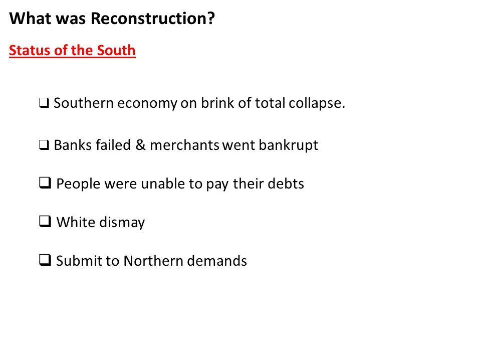 Reconstruction. - ppt download