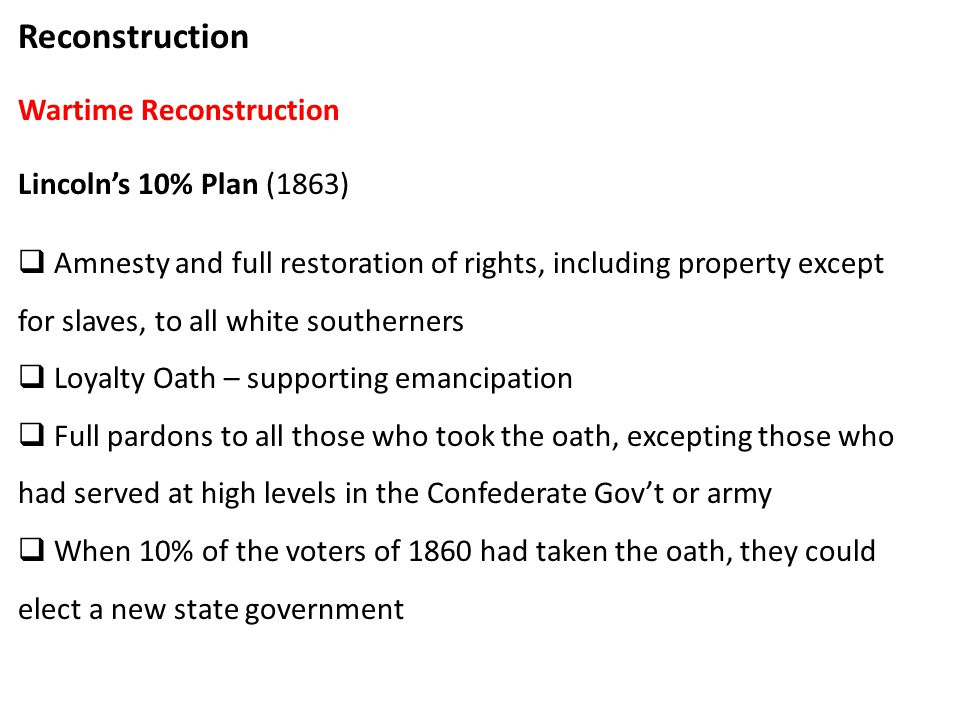 lincolns restoration plan and johnsons policies of amnesty and pardon Proclamation of amnesty and reconstruction, may 29, 1865 description  amnesty and pardon, with restoration of all rights of property, except as to slaves, and .