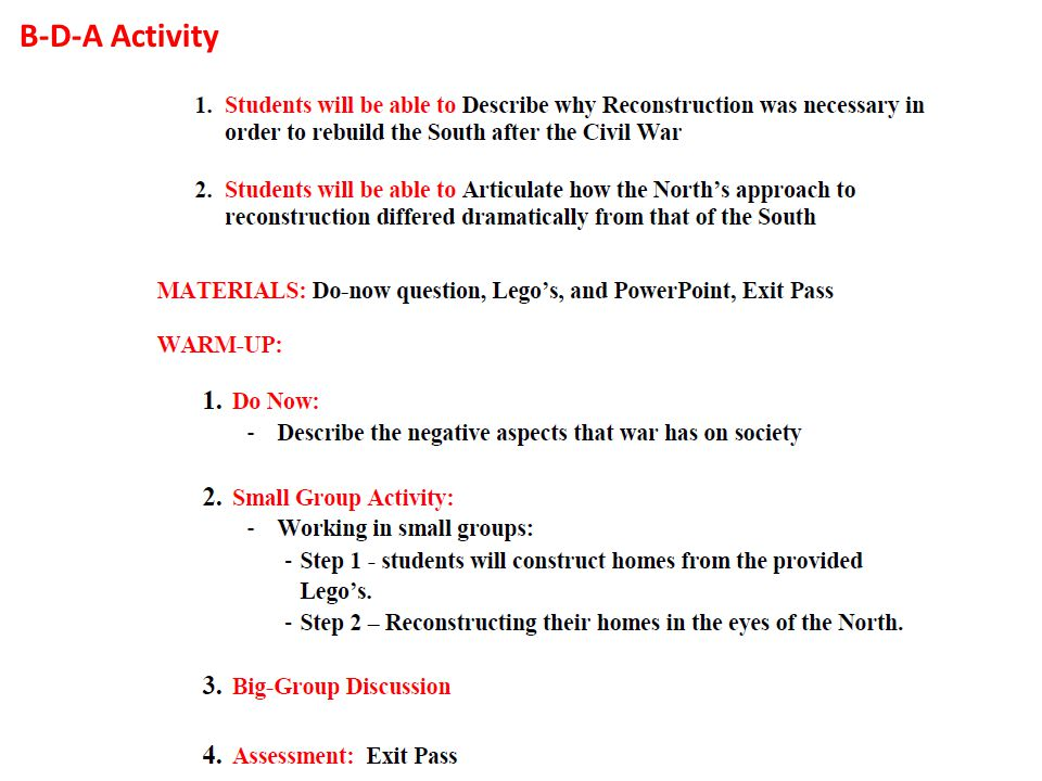 reconstruction ppt  3 b d a activity