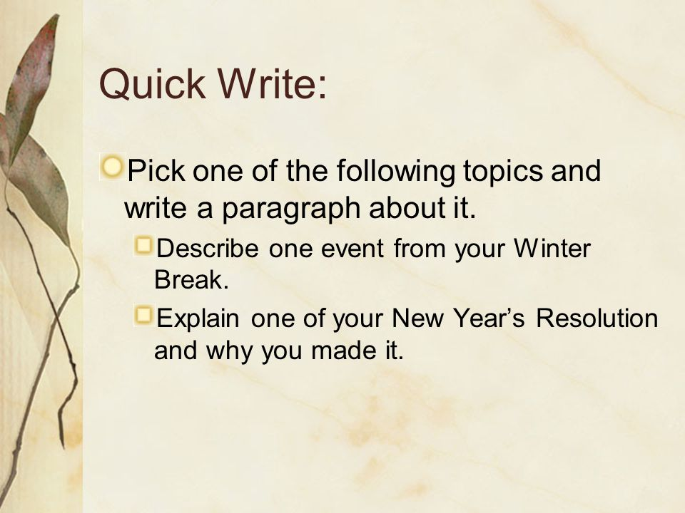 quick write topics #11 what does avid mean to you (write for three #29 quickwrite write your short term and long term #39 what topics would you like to talk about in.