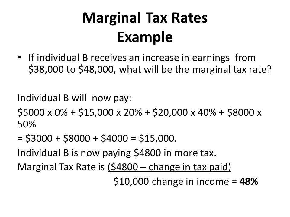 Marginal Tax Rate Example
