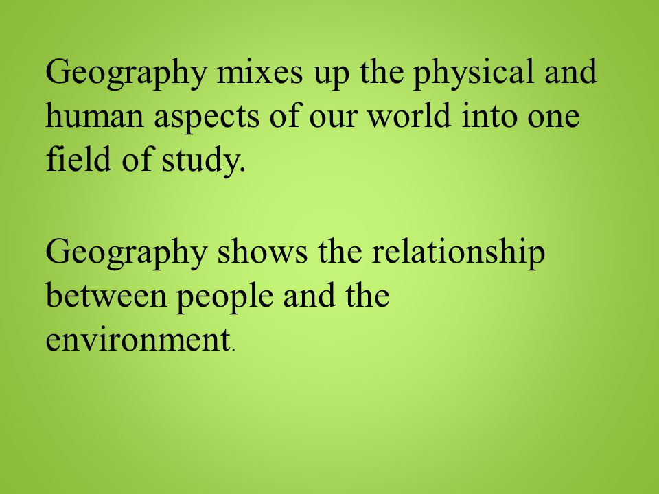 field work the relationship between physical Learn and revise the process of carrying out and writing up fieldwork with gcse bitesize geography (aqa) 1 which of the following topics would be a physical geography enquiry cities coasts tourism they show a relationship between two sets of data they are measures of central tendency they show change.