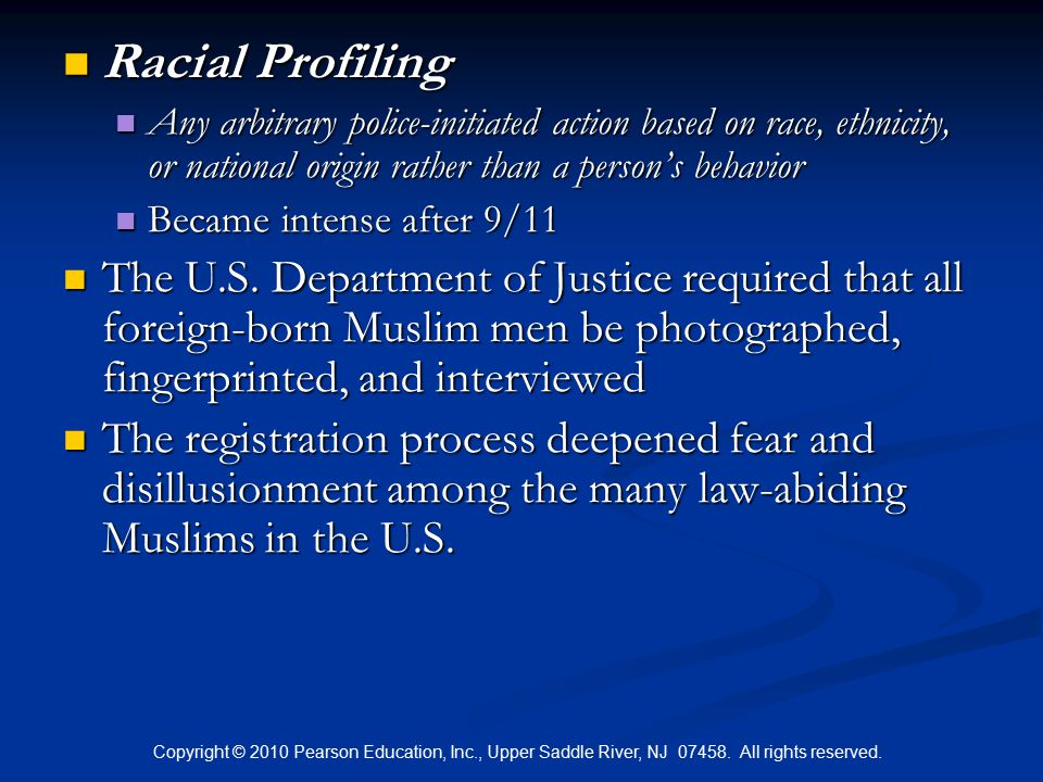racial profiling after 9 11 Racial profiling post 9/11 majority of the americans changed their perception towards racial profiling after their safety was put under threat by terrorists.
