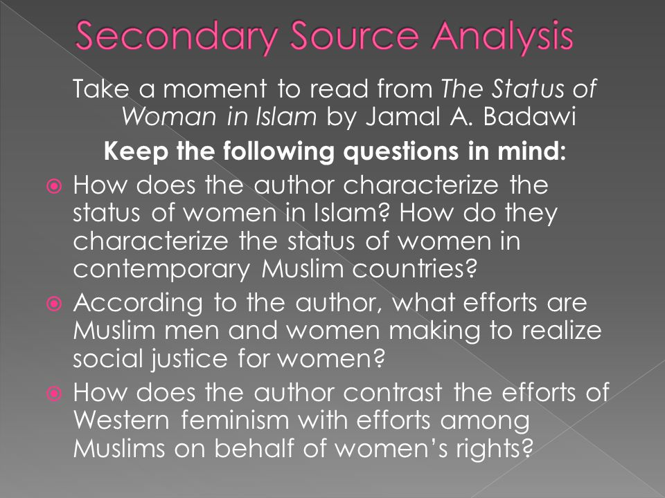 secondary source analysis Secondary source analysis assignment: for this assignment, you must write a 2-3 page (400 to 600 word) review essay on either a book or film that examines some aspect of us history from the end of the civil war up to the present (or, if you do something on the settlement of the west, you can go back as far as about 1850.