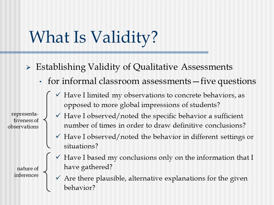 What Is Validity Establishing Validity of Qualitative Assessments