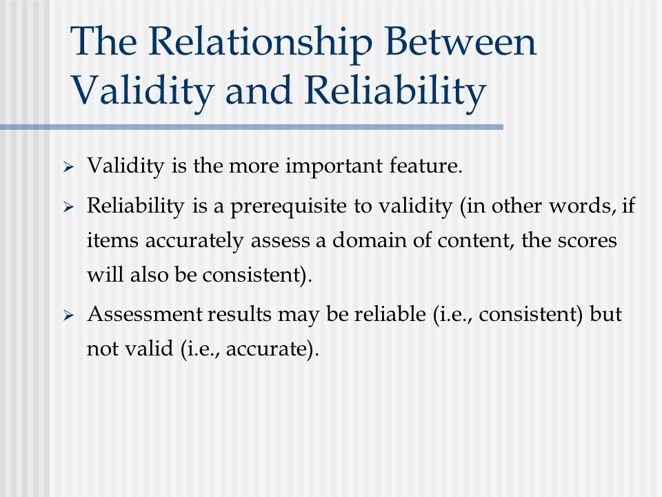 relationship of reliability and validity