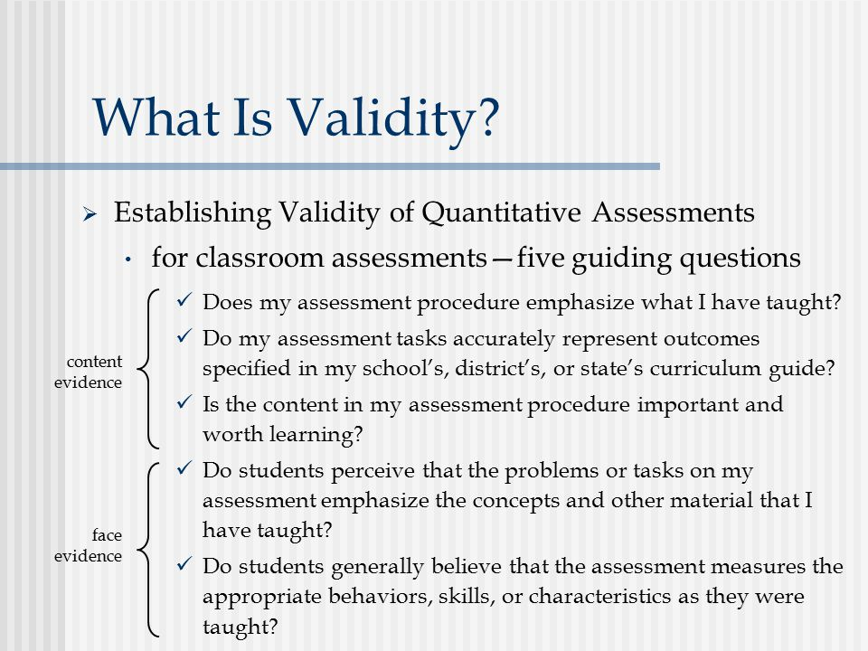 What Is Validity Establishing Validity of Quantitative Assessments