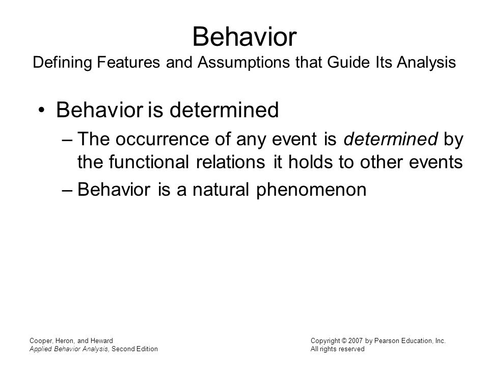 An analysis of behavioral phenomenon