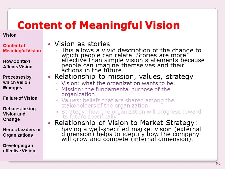 relationship among vision mission values and strategy war