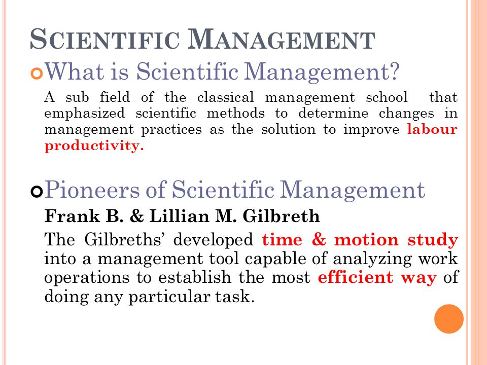 the contributions of frank and lillian gilbreth to the study of scientific management fatigue study  Scientific management theory,  motion study: created by frank and lillian gilbreth,  it continues to make significant contributions to management theory today.