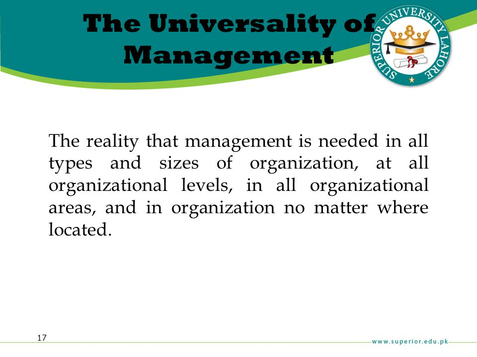 The Universality of Management