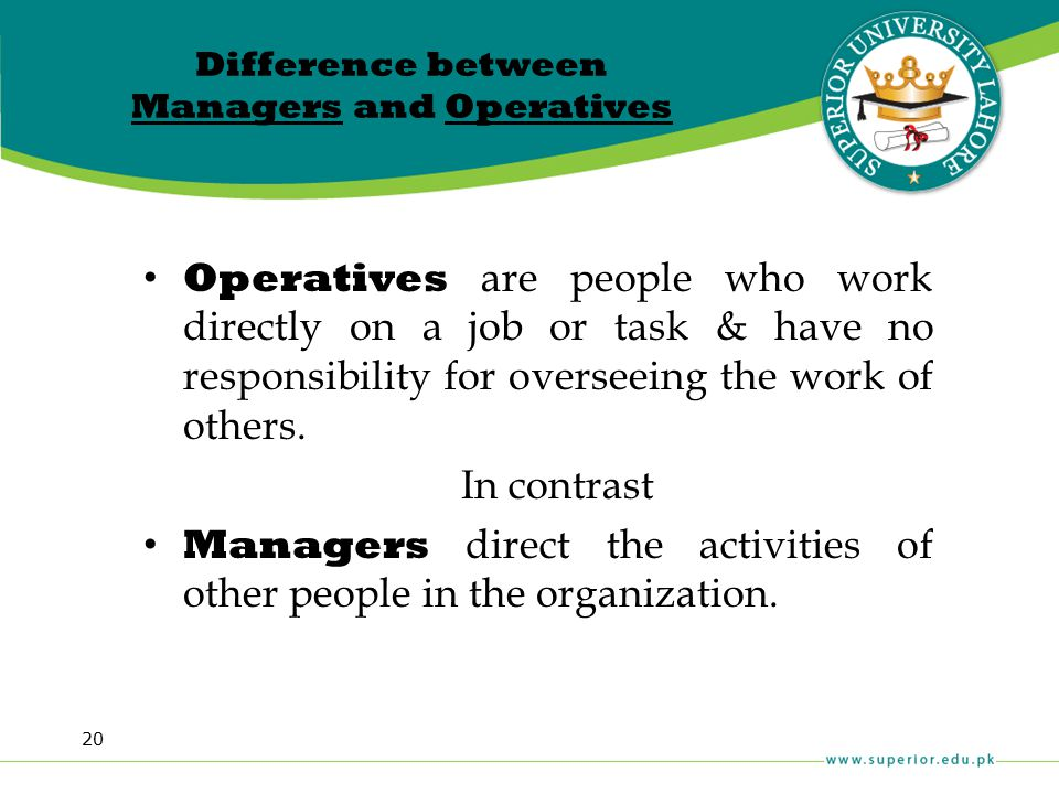 Difference between Managers and Operatives