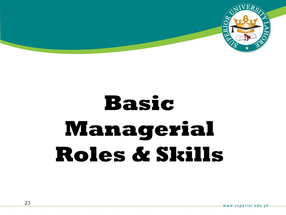 Basic Managerial Roles & Skills