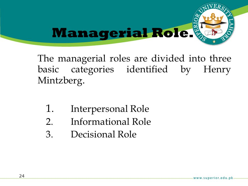 Managerial Role. The managerial roles are divided into three basic categories identified by Henry Mintzberg.