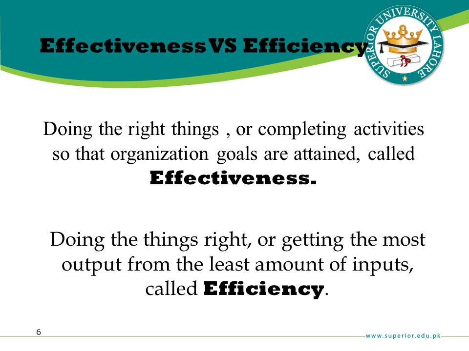 Effectiveness VS Efficiency