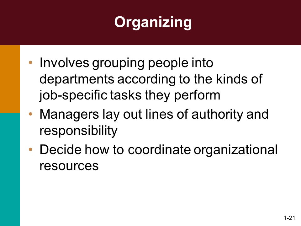Organizing Involves grouping people into departments according to the kinds of job-specific tasks they perform.