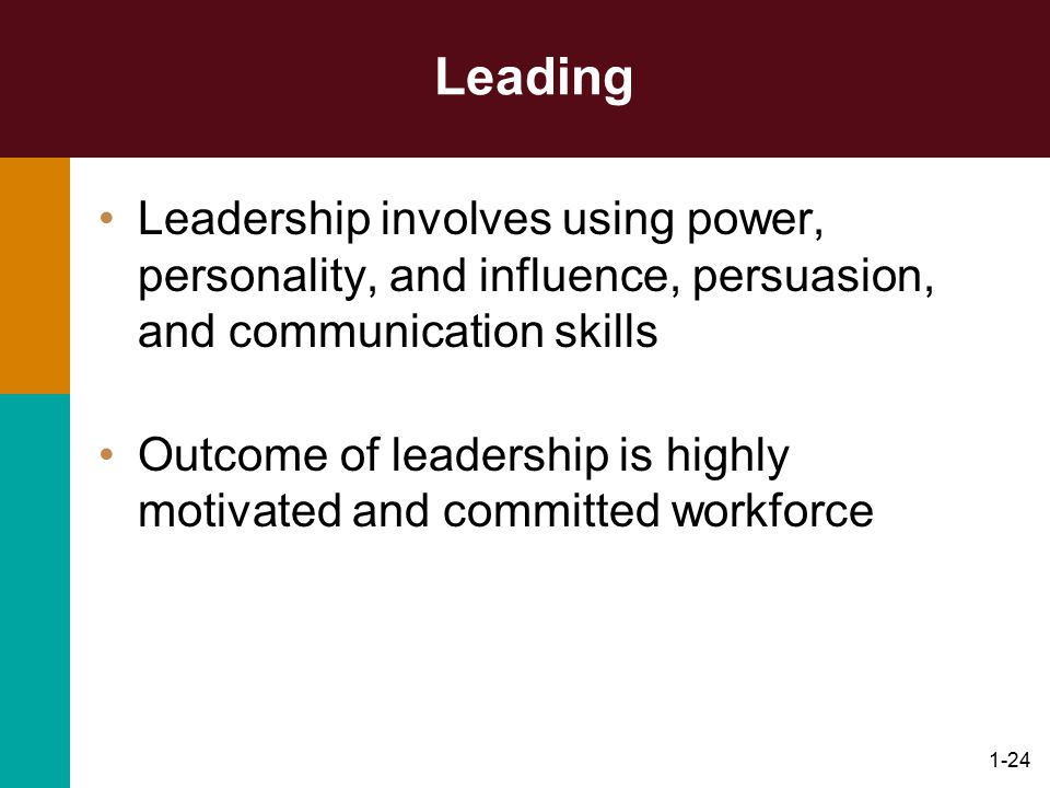 Leading Leadership involves using power, personality, and influence, persuasion, and communication skills.