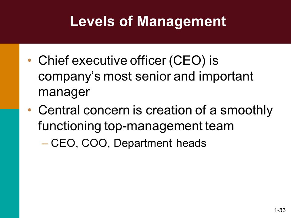 Levels of Management Chief executive officer (CEO) is company's most senior and important manager.