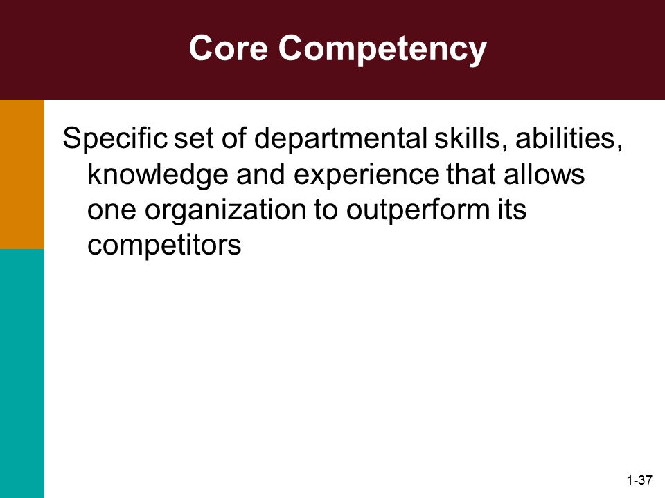 Core Competency Specific set of departmental skills, abilities, knowledge and experience that allows one organization to outperform its competitors.