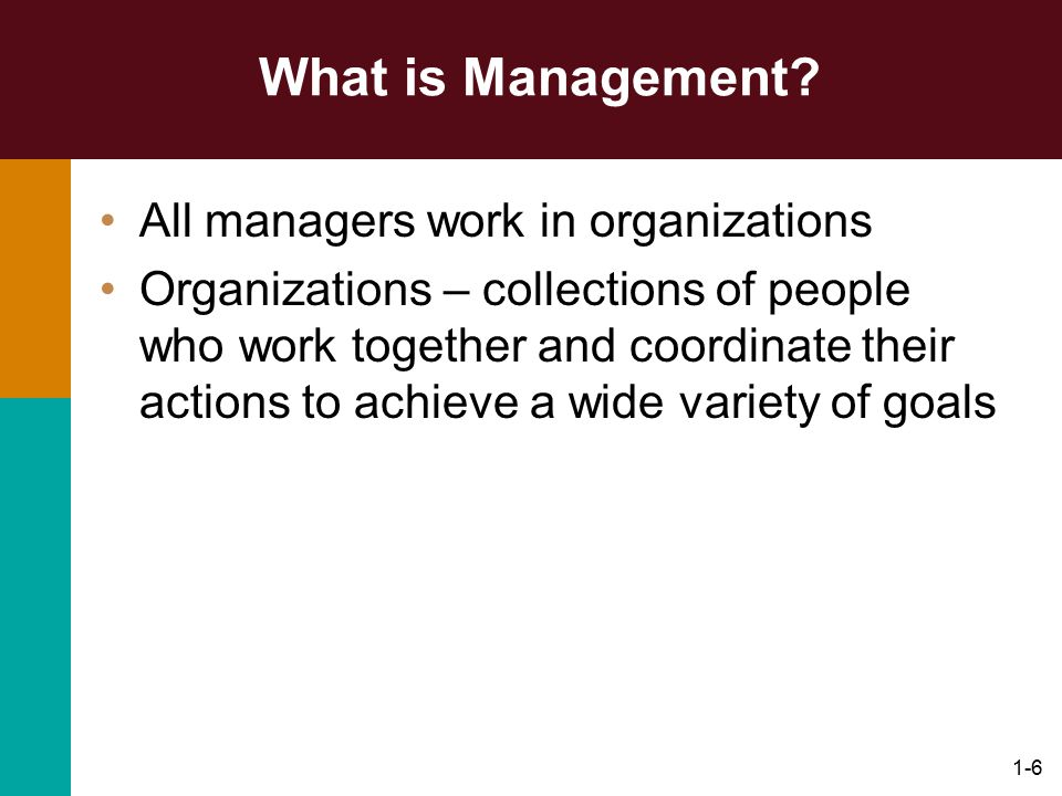 What is Management All managers work in organizations
