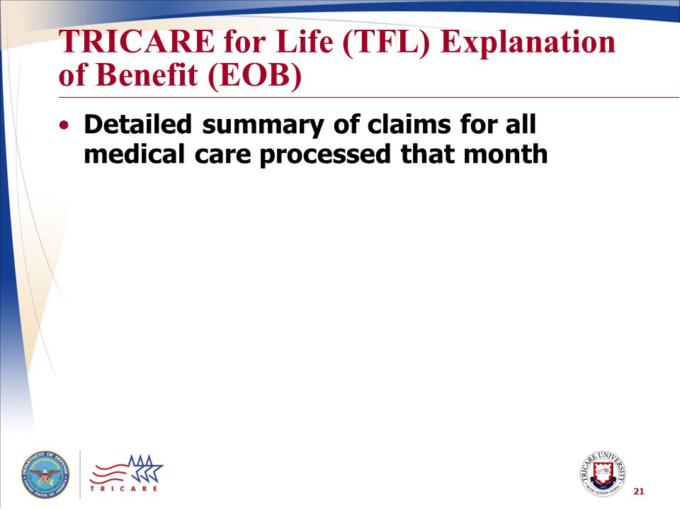 TRICARE for Life (TFL) Explanation of Benefit (EOB)