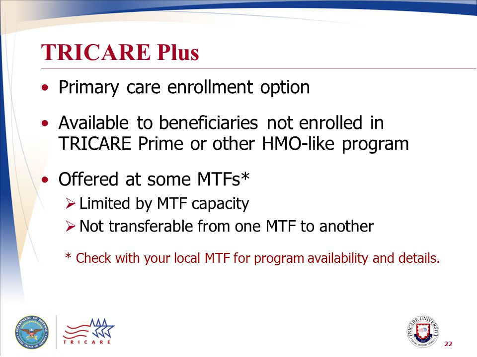 TRICARE Plus Primary care enrollment option