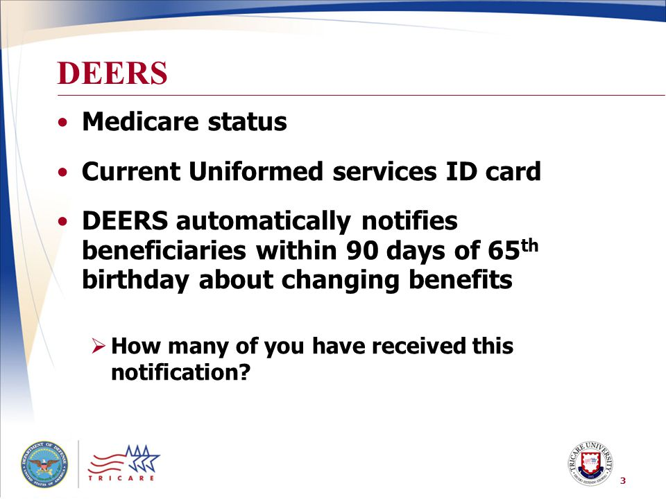 DEERS Medicare status Current Uniformed services ID card