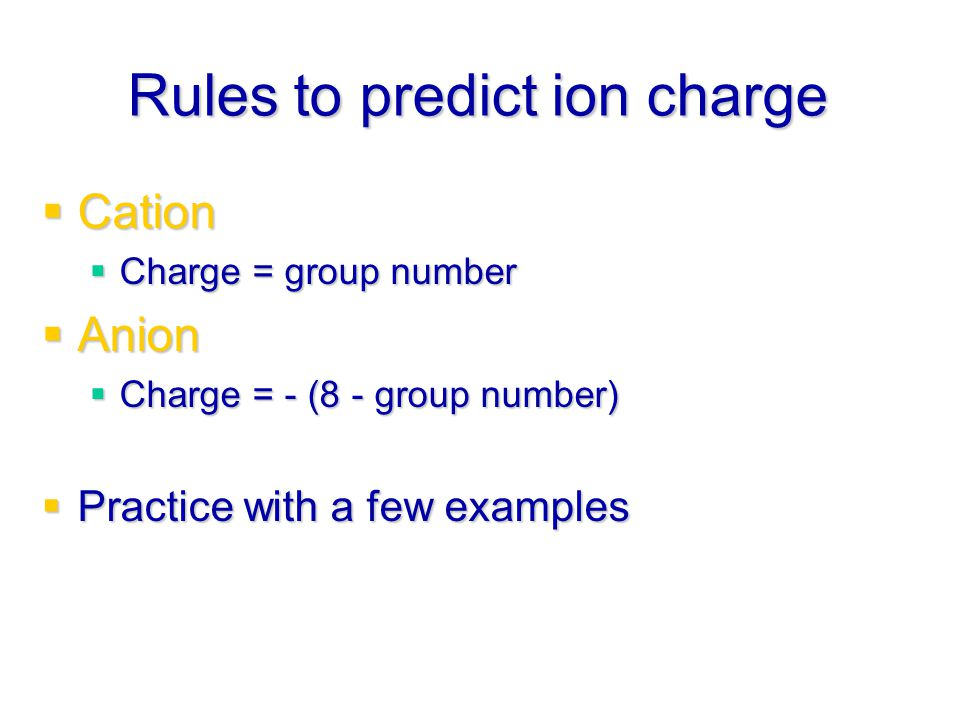 Rules to predict ion charge