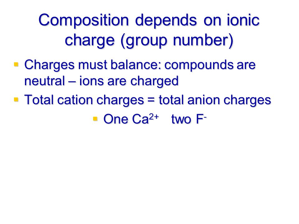 Composition depends on ionic charge (group number)