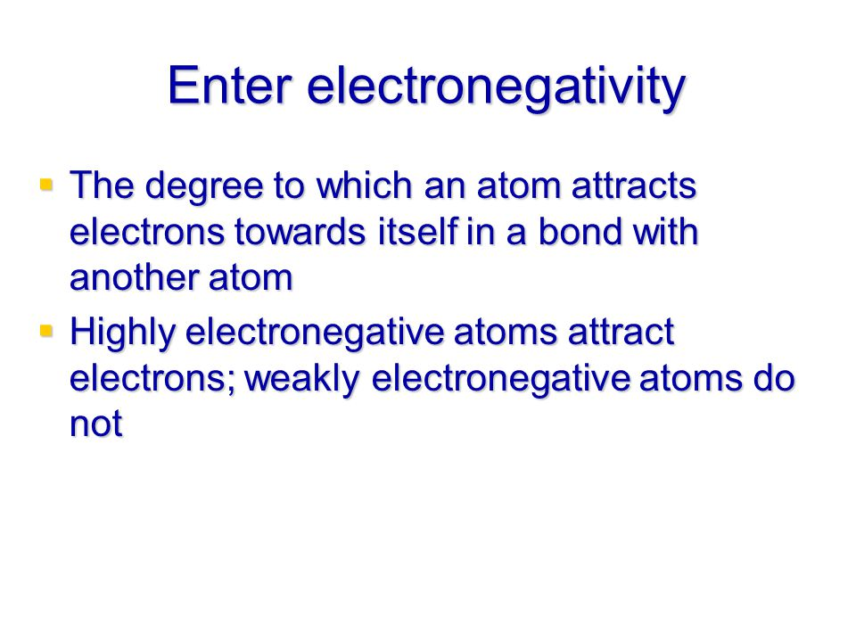 Enter electronegativity