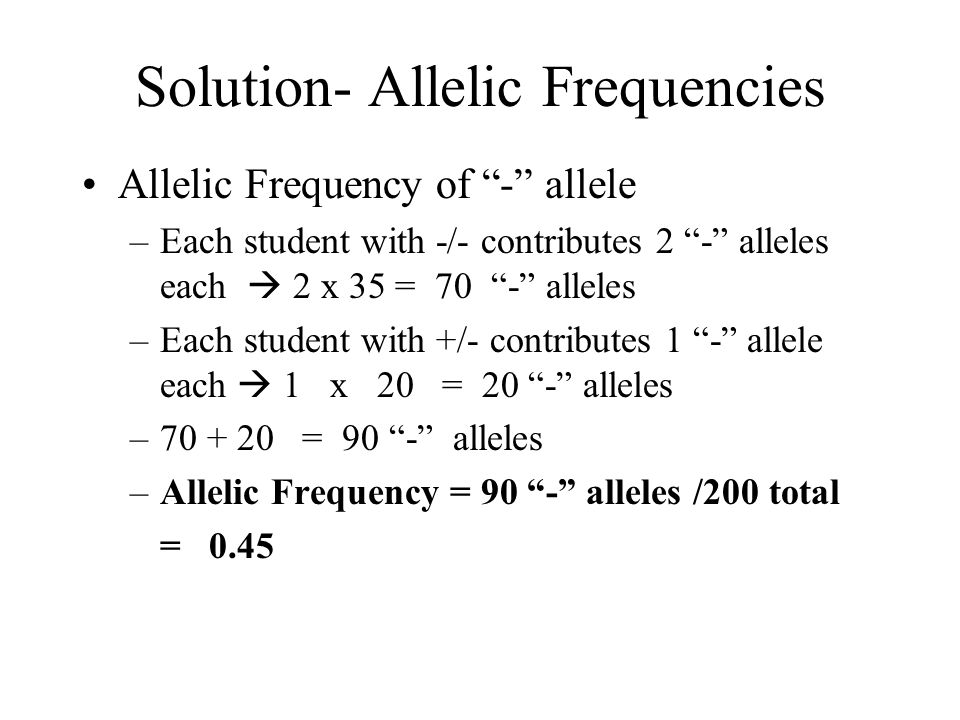 Solution- Allelic Frequencies