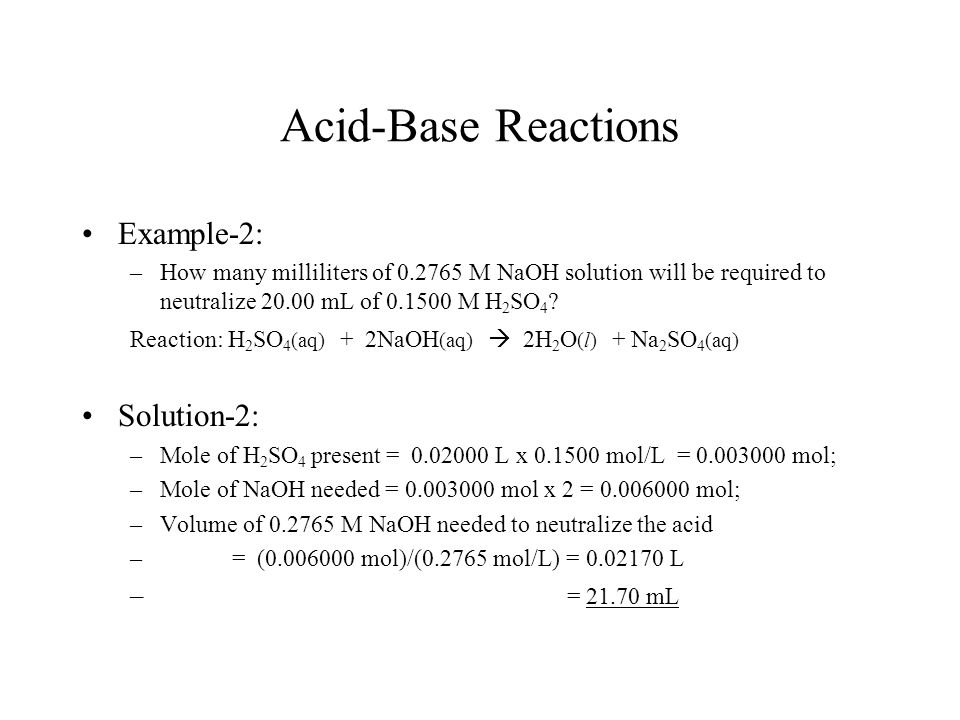 solution acid and base If a base is added to an acidic solution, the solution becomes less acidic and  moves toward the middle of the ph scale this is called neutralizing the acid.