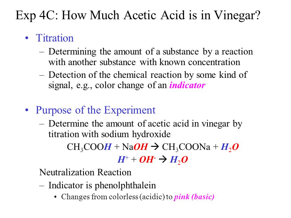determination of the concentration of acetic General remarks determination of sodium hydroxide concentration is about as often discussed as hydrochloric acid titration - both acid and base are strong, so calculation of titration curve and equivalence point are pretty straightforward.