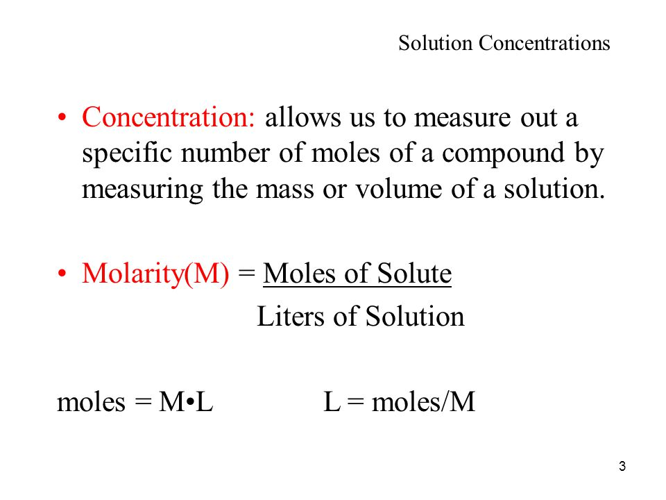 how to find out moles by concentration