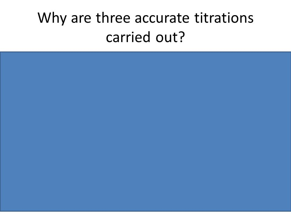 Why are three accurate titrations carried out