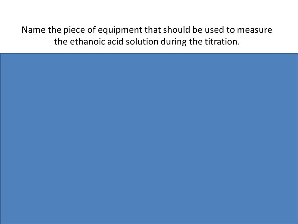 Name the piece of equipment that should be used to measure the ethanoic acid solution during the titration.