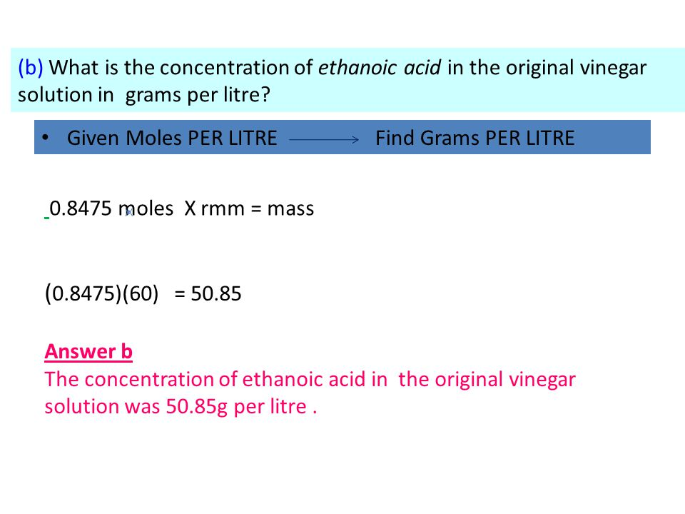 (b) What is the concentration of ethanoic acid in the original vinegar solution in grams per litre