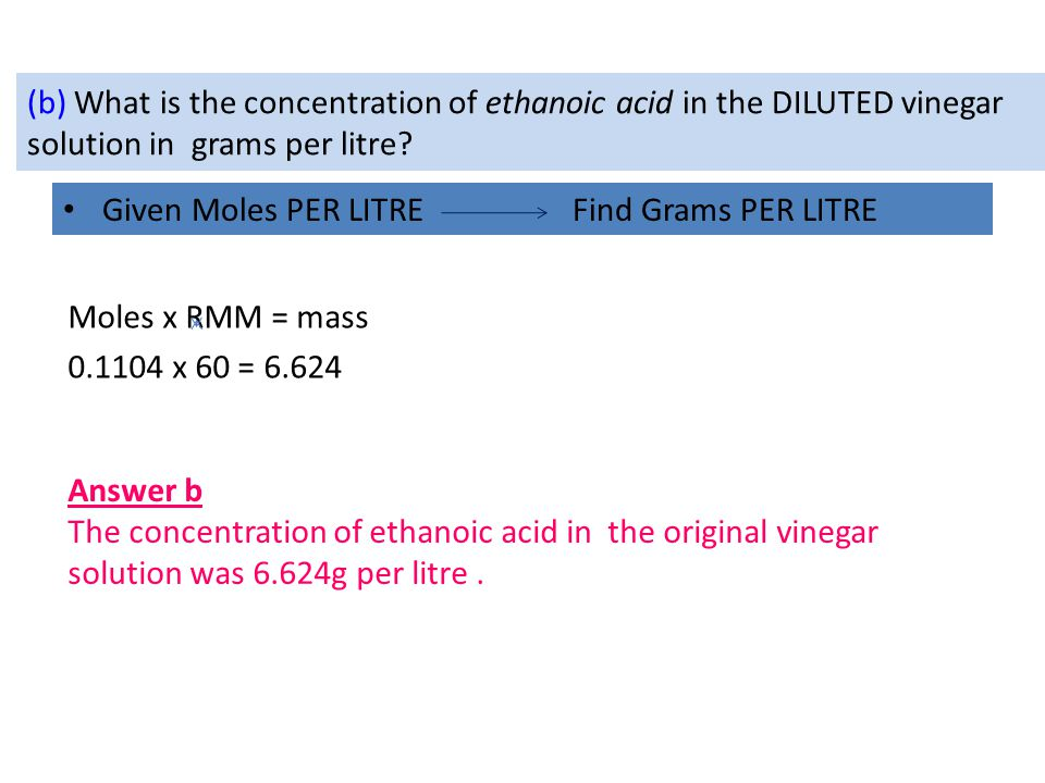 (b) What is the concentration of ethanoic acid in the DILUTED vinegar solution in grams per litre