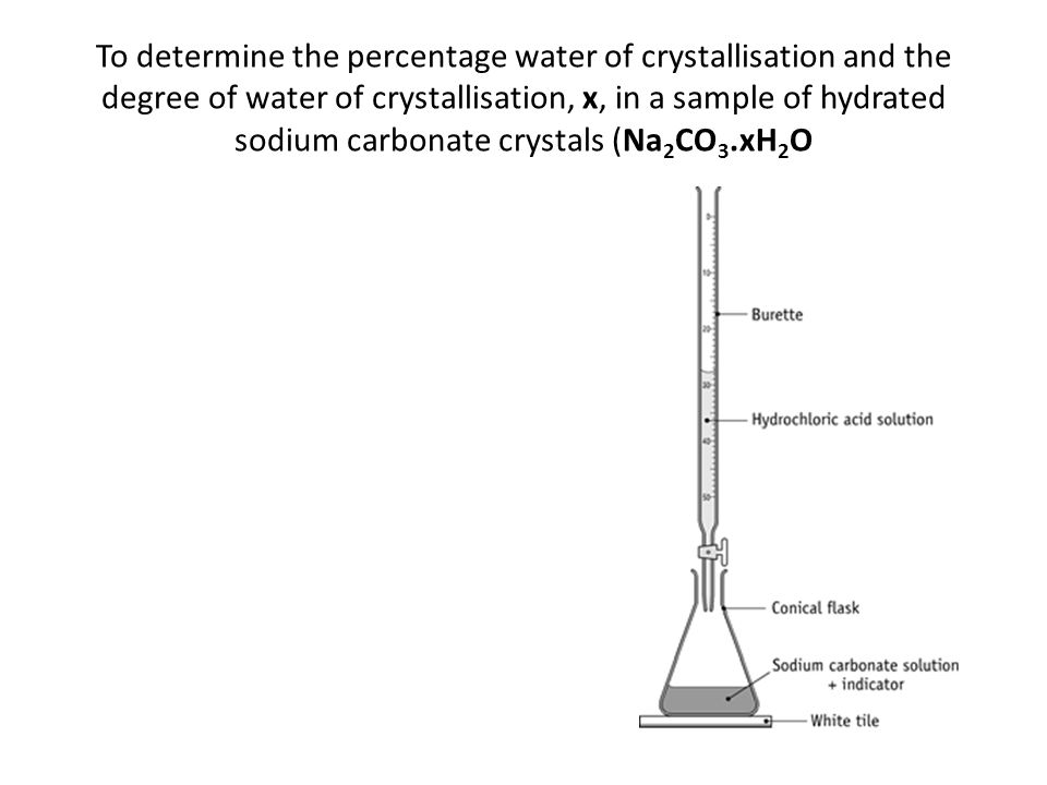 To determine the percentage water of crystallisation and the degree of water of crystallisation, x, in a sample of hydrated sodium carbonate crystals (Na2CO3.xH2O