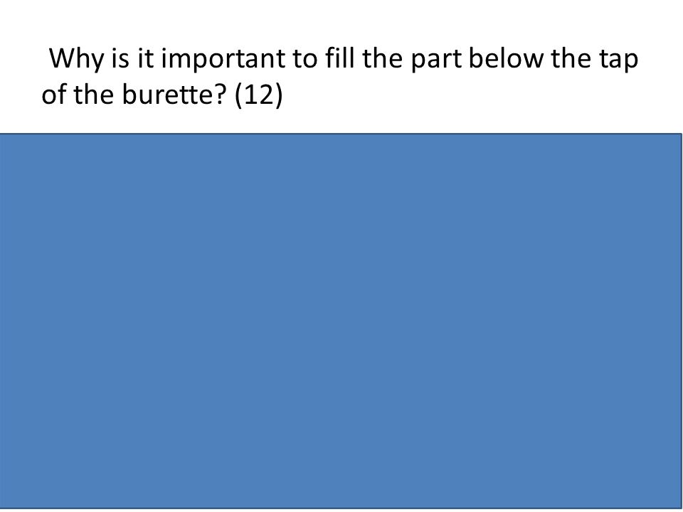 Why is it important to fill the part below the tap of the burette (12)