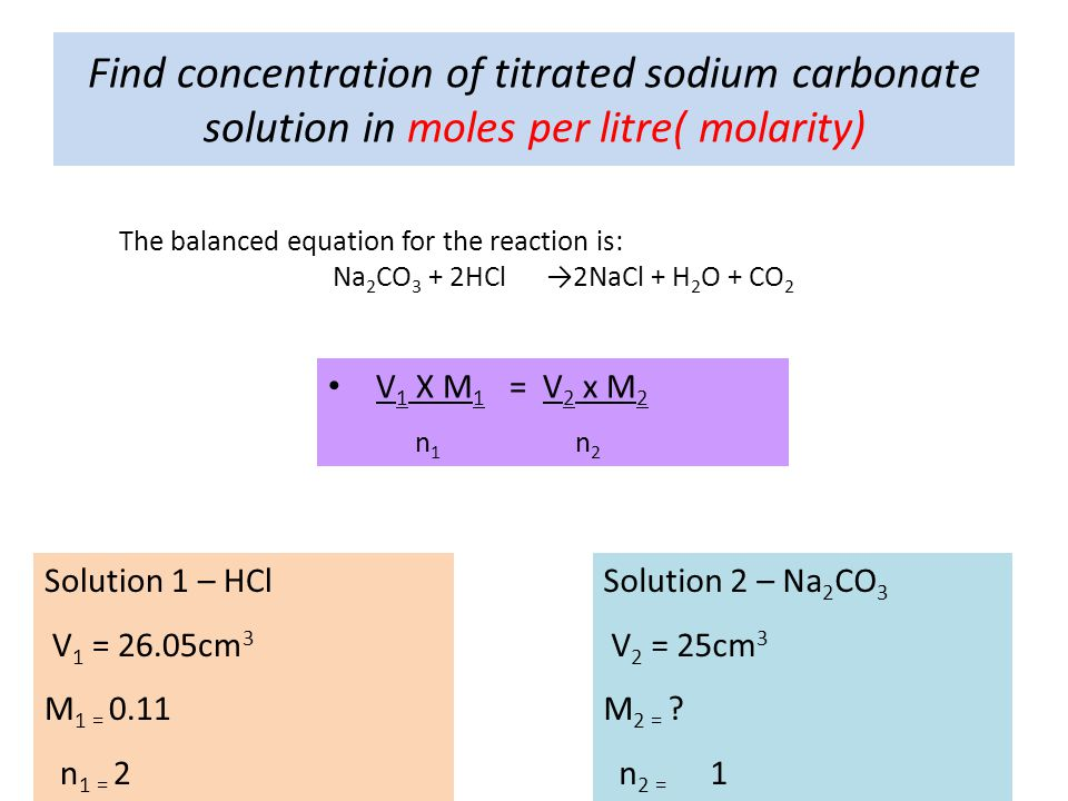 Find concentration of titrated sodium carbonate solution in moles per litre( molarity)