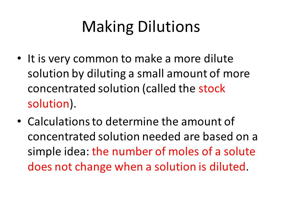 Making Dilutions