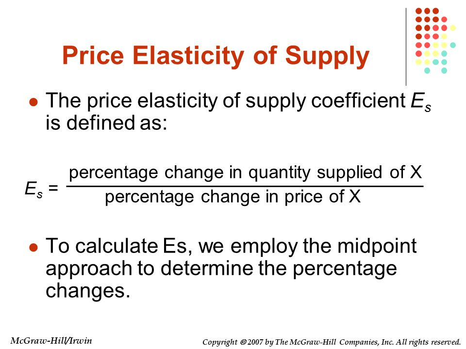 supply and demand and percentage change Price elasticity of supply is the measure of responsiveness of producers and resource suppliers to the change in price of a produce or resource the responsiveness of .