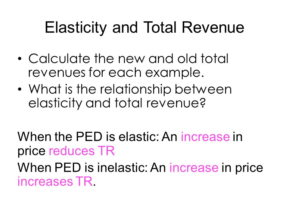 ped revenue Price elasticity of demand (ped) and total revenue - how to draw the link between price elasticity of demand (ped) and total revenue theory video: https://ww.