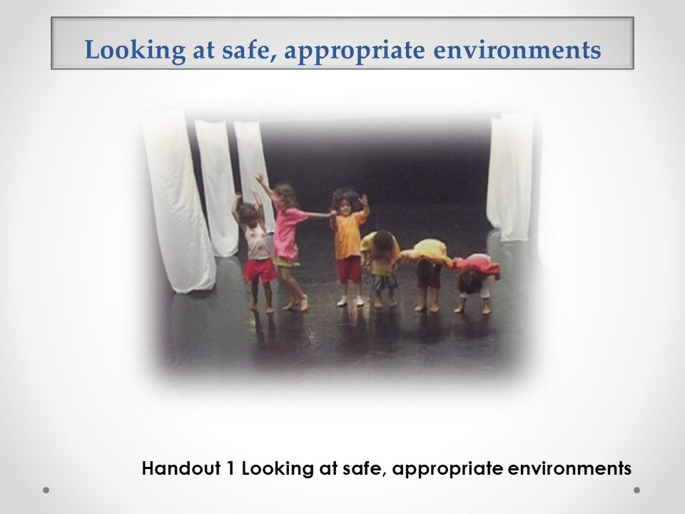 Looking at safe, appropriate environments