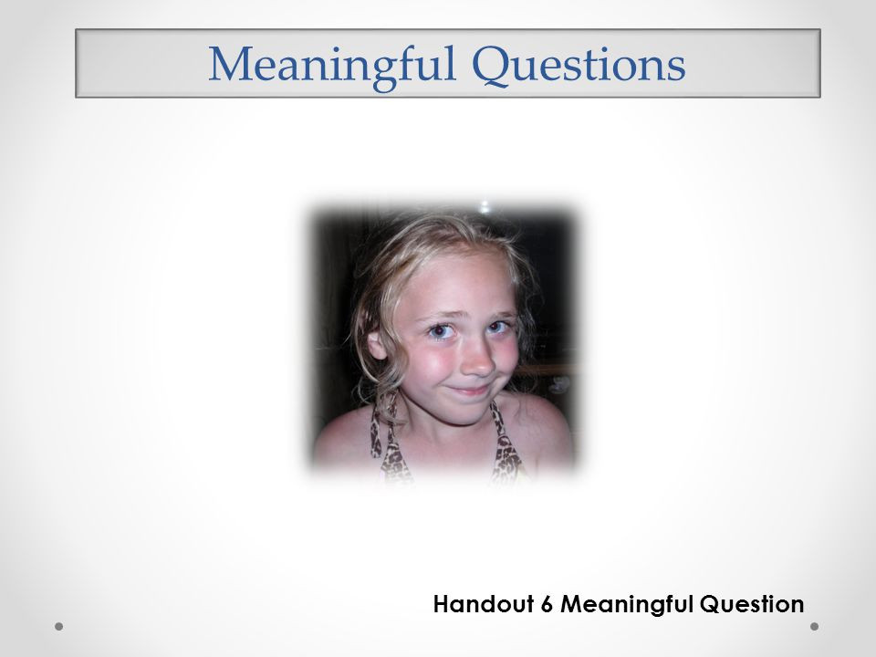 Handout 6 Meaningful Question