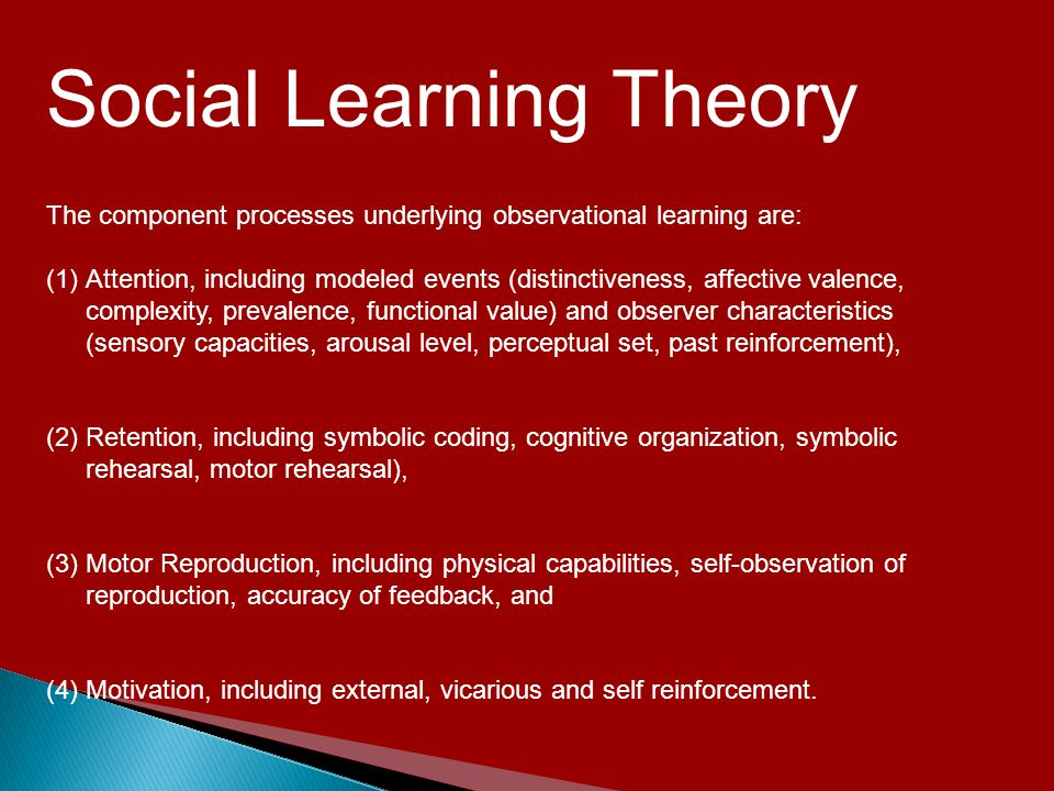 social learning theory an attempt to While the behavioral theories of learning suggested that all learning was the result of associations formed by conditioning, reinforcement, and punishment, bandura's social learning theory proposed that learning can also occur simply by observing the actions of others.