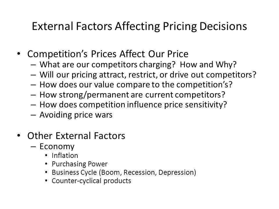 What are the Factors Influencing Pricing Decisions in a Market?