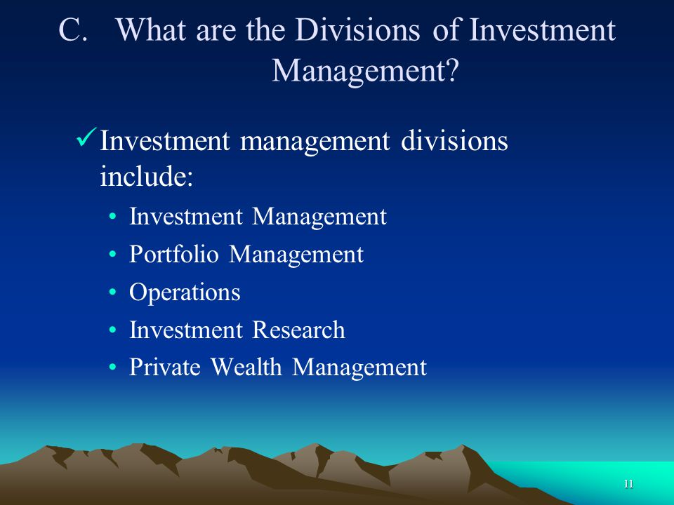 What are the Divisions of Investment Management