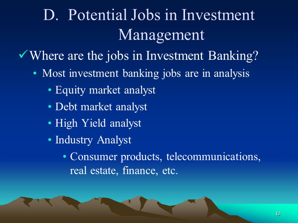 Potential Jobs in Investment Management
